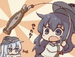2girls akatsuki_(kantai_collection) black_hat blue_eyes commentary_request fishing_hook fishing_line fishing_rod flat_cap hair_between_eyes hat hibiki_(kantai_collection) kantai_collection kata_meguma long_hair multiple_girls open_mouth purple_hair silver_hair translation_request violet_eyes