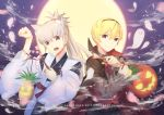 2017 2boys alternate_costume animal_ears blonde_hair cape cat_ears cat_tail cherry_blossoms copyright_name fangs fire_emblem fire_emblem_if food fruit ghost grey_hair halloween halloween_costume happy_halloween highres japanese_clothes leaf leon_(fire_emblem_if) male_focus moon multiple_boys night night_sky orange_eyes petals pineapple pumpkin red_eyes sky tail takumi_(fire_emblem_if) teeth