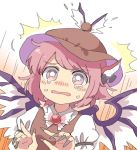 /\/\/\ 1girl animal_ears bird_ears brown_hat brown_vest eyebrows_visible_through_hair fingernails grey_nails hat juliet_sleeves long_sleeves mystia_lorelei nail_polish pink_eyes pink_hair puffy_sleeves sasa_kichi scared sharp_fingernails shirt solo tears touhou vest wavy_mouth white_shirt wide-eyed wing_collar