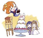 3girls blue_hair bridal_veil brown_hair chair_tipping chibi dengeki_g's dress fork highres holding holding_fork jumping katana kiyose_akame kousaka_honoka love_live! love_live!_school_idol_project minami_kotori multiple_girls official_art orange_hair ribbon sonoda_umi stacking sword tuxedo veil weapon wedding_dress