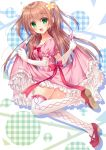1girl :d blush brown_hair collarbone commentary_request dress elbow_gloves eyebrows_visible_through_hair from_side fujikura_ryuune full_body gloves green_eyes juliet_sleeves lifted_by_self long_hair long_sleeves looking_at_viewer looking_to_the_side open_mouth original pink_dress puffy_short_sleeves puffy_sleeves shiny shiny_skin shoe_soles short_sleeves skirt skirt_lift smile solo thigh-highs twintails twisted_neck white_gloves white_legwear zettai_ryouiki