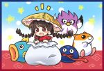 1girl :d ajirogasa bangs black_eyes black_hair blue_background blunt_bangs blush braid brown_hat coo_(kirby) crossover earlobes eyebrows_visible_through_hair flying framed frilled gooey hat in_container in_sack kine_(kirby) kirby's_dream_land_2 kirby_(series) long_hair open_mouth pote_(ptkan) red_eyes rick_(kirby) sack smile star sweatdrop tongue tongue_out touhou twin_braids yatadera_narumi
