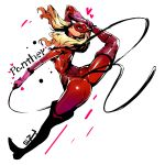1girl absurdres ass blonde_hair blue_eyes bodysuit boots breasts from_behind gloves highres long_hair looking_at_viewer looking_back mask medium_breasts persona persona_5 red_bodysuit shiny simple_background solo split tail takamaki_anne thigh-highs thigh_boots twintails whip white_background