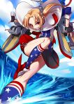 1girl absurdres american_flag american_flag_print ankle_wings azur_lane blonde_hair boots capelet cleveland_(azur_lane) fingerless_gloves flag_print gloves grin headgear highres kneehighs long_hair mecha_musume ocean panties red_eyes ryuusei_(mark_ii) side-tie_panties side_ponytail sleeves_pushed_up smile solo striped striped_panties underwear walking walking_on_liquid