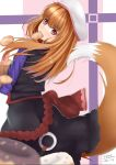 1girl black_jacket black_skirt bread brown_hair carrying_bag cowboy_shot doughnut fang food food_in_mouth from_behind hat holo jacket looking_at_viewer looking_back purple_shirt red_eyes shirt skirt solo spice_and_wolf tail wolf_tail