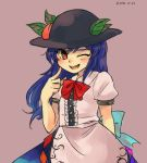 1girl :d apron black_hat blue_hair blue_skirt blush bow bowtie bright_pupils character_request commentary_request dated food fruit hat index_finger_raised leaf long_hair one_eye_closed open_mouth peach puffy_short_sleeves puffy_sleeves purple_background red_eyes red_neckwear sasa_kichi shirt short_sleeves simple_background skirt smile solo touhou white_shirt