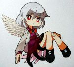 1girl black_footwear blush_stickers boots bow bowtie braid bright_pupils character_request chibi dress floating highres jacket long_sleeves looking_at_viewer marker_(medium) photo purple_dress red_eyes red_neckwear sasa_kichi silver_hair solo touhou traditional_media white_jacket white_wings wings