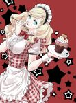 1girl blonde_hair blue_eyes bow bowtie dress eating food fork long_hair looking_at_viewer maid maid_headdress oto_nagi persona persona_5 skirt smile solo takamaki_anne twintails