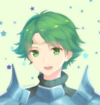 1boy alm_(fire_emblem) armor artist_name circlet fire_emblem fire_emblem_echoes:_mou_hitori_no_eiyuuou green_background green_eyes green_hair highres male_focus open_mouth portrait simple_background star teeth