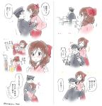 1boy 3girls admiral_(kantai_collection) bow brown_hair comic covering_eyes drill_hair expressions hair_bow hakama harukaze_(kantai_collection) hat hatakaze_(kantai_collection) hug japanese_clothes kamikaze_(kantai_collection) kantai_collection kimono lifting meiji_schoolgirl_uniform military military_uniform multiple_girls nyoriko pink_kimono red_bow red_eyes red_hakama stove translation_request twin_drills twitter_username uniform upper_body white_background