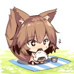 +++ +_+ 1girl animal_ears bangs black_eyes blush brown_hair chibi day dress eating eyebrows_visible_through_hair food food_on_face fox_ears fox_girl fox_tail green_tea hair_between_eyes holding holding_food long_hair onigiri open_mouth original outdoors pink_dress rice rice_on_face sitting sleeveless sleeveless_dress solo tail tea yuuji_(yukimimi)