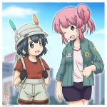 2girls backpack bag bucket_hat commentary_request fang feathers gaketsu gloves hat id_card jacket japari_symbol kaban_(kemono_friends) kemono_friends multiple_girls nana_(kemono_friends) one_eye_closed open_mouth pink_hair shirt short_hair shorts smile t-shirt