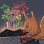 1girl aerial_fireworks animal_ears barefoot blonde_hair blush candy_apple chibi chocolate_banana dress eating fireworks food fox_ears fox_girl fox_tail holding holding_food long_hair looking_away night night_sky on_table original sitting sky sleeveless sleeveless_dress solo table tail white_dress yuuji_(yukimimi)