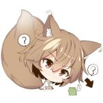1girl ? animal animal_ears bangs barefoot brown_eyes brown_hair chibi closed_mouth collarbone directional_arrow eyebrows_visible_through_hair fox_ears fox_girl fox_tail frog hair_between_eyes head_tilt long_sleeves original shirt simple_background sitting solo spoken_question_mark tail v-shaped_eyebrows white_background white_shirt yuuji_(yukimimi)