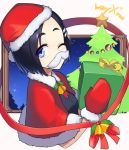 1girl bell black_hair blue_eyes capelet christmas christmas_tree commentary fake_mustache gift hat jingle_bell kantai_collection kuroshio_(kantai_collection) mittens one_eye_closed santa_costume santa_hat short_hair solo taketora_suzume