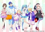 2boys 4girls :d ahoge ankle_boots aqua_eyes aqua_hair arm_up bag bangs bare_shoulders black_dress black_footwear black_hat black_legwear blonde_hair blue_choker blue_eyes blue_footwear blue_hair blue_legwear blue_neckwear blue_pants blue_scarf blue_skirt blush boots bow bracelet breasts brown_eyes brown_hair candy casual center_frills choker collarbone cross-laced_footwear crypton_future_media dress eyebrows_visible_through_hair food food_print food_themed_background full_body glasses gradient_clothes grin hair_bow hair_ornament hairband hairclip hand_on_headwear hand_on_hip handbag hat hat_bow hatsune_miku high-waist_skirt high_heel_boots high_heels holding holding_bag holding_food horn jacket jewelry kagamine_len kagamine_rin kaito lace-up_boots leg_up lollipop long_hair long_sleeves looking_at_viewer mary_janes medium_breasts megurine_luka meiko miniskirt mismatched_footwear mismatched_legwear multiple_boys multiple_girls neck_ribbon neckerchief necktie no_socks official_art open_clothes open_jacket open_mouth orange_footwear pants pantyhose parted_lips pearl_bracelet pink_eyes pink_footwear pink_hair pink_legwear pink_neckwear pink_ribbon pleated_skirt print_jacket print_shirt print_shorts purple_footwear purple_sailor_collar purple_skirt ribbon sailor_collar scarf seamed_legwear shirt shoes shopping_bag short_hair short_ponytail shorts side-seamed_legwear single_thighhigh skirt sleeveless sleeveless_shirt smile sogawa standing standing_on_one_leg starry_sky_print striped striped_legwear sweater swept_bangs teeth thigh-highs thigh_gap thigh_strap treble_clef twintails vertical-striped_background vertical-striped_legwear vertical_stripes very_long_hair vocaloid watch watermark waving web_address white_hairband white_legwear white_neckwear white_ribbon white_shirt white_sweater yamaha_(company) yellow-framed_eyewear yellow_bow yellow_eyes