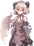 1girl arms_at_sides bare_shoulders black_bow black_dress black_gloves bow collarbone demon_horns dress elbow_gloves gloves hair_over_one_eye horns looking_at_viewer original red_eyes short_hair silver_hair sketch sleeveless sleeveless_dress solo yuuji_(yukimimi)