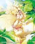 1girl antennae bare_shoulders black_eyes blonde_hair boots bow breasts cardfight!!_vanguard cleavage company_name fur_trim leaf lethargy_mutant_silk_sleeper long_hair moth moth_girl moth_wings official_art okeya_(ol23) sky solo sparkle wings
