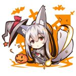 1girl animal_ears bangs barefoot bat blush bow chibi dress eyebrows_visible_through_hair fox_ears fox_girl fox_tail grey_dress grey_hat hair_between_eyes halloween hat hat_bow head_tilt high_ponytail jack-o'-lantern long_hair long_sleeves looking_at_viewer original parted_lips ponytail red_bow red_eyes sidelocks silver_hair sparkle standing star tail very_long_hair wide_sleeves witch_hat yuuji_(yukimimi)