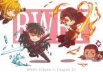 4girls anger_vein chibi cinder_fall commentary_request english fighting kaogei_moai magic multiple_girls raven_branwen rwby spoilers vernal_(rwby) yang_xiao_long
