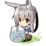 1girl animal_ears bangs barefoot blush blush_stickers braid chibi closed_mouth eyebrows_visible_through_hair fish fishbowl fox_ears fox_girl fox_tail hair_between_eyes japanese_clothes kimono long_hair long_sleeves looking_away nose_blush on_table original ponytail red_eyes side_braid sidelocks silver_hair smile solo standing table tail very_long_hair water white_kimono wide_sleeves yuuji_(yukimimi)