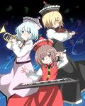 3girls beamed_quavers black_background black_dress blonde_hair blue_background blue_eyes blue_hair brown_eyes brown_hair commentary_request dress eyebrows_visible_through_hair frills from_side gradient gradient_background hat highres holding holding_instrument instrument keyboard_(instrument) kz_oji long_sleeves looking_at_viewer lunasa_prismriver lyrica_prismriver merlin_prismriver multiple_girls musical_note pink_dress profile red_dress short_hair smile touhou trumpet violin yellow_eyes