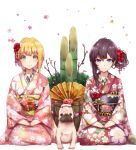 2girls absurdres bamboo black_hair blonde_hair blue_eyes dog eyebrows_visible_through_hair fan floral_print flower green_eyes hair_flower hair_ornament hand_on_lap highres ichinose_shiki idolmaster idolmaster_cinderella_girls japanese_clothes kimono looking_at_viewer miyamoto_frederica multiple_girls nail_polish red_nails ryuu. sash side_ponytail sitting smile