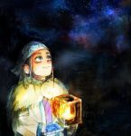1girl ainu ainu_clothes asirpa bandanna black_hair blue_eyes cape child commentary earrings fur_cape golden_kamuy hoop_earrings jewelry lantern long_hair looking_up night night_sky outdoors sky star_(sky) starry_sky takaynno traditional_media