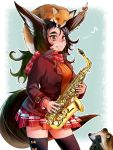 1girl animal animal_ears animal_on_head black_jacket black_legwear blue_background bow brown_hair doitsuken ear_ribbon fang fang_out fox fox_ears fox_tail holding holding_instrument instrument jacket long_hair long_sleeves looking_at_viewer musical_note on_head orange_sweater original red_eyes red_scarf red_skirt ribbed_sweater saxophone scarf skirt sleeping smile solo spoken_musical_note standing sweater tail tanuki thigh-highs zettai_ryouiki
