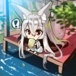 ! 1girl absurdly_long_hair animal_ears bangs barefoot blurry blurry_foreground blush chibi covered_mouth cup day depth_of_field dress drinking_glass eyebrows_visible_through_hair fox_ears fox_girl fox_tail hair_between_eyes holding holding_drinking_glass long_hair long_sleeves looking_at_viewer original outdoors red_eyes silver_hair sitting solo spoken_exclamation_mark tail very_long_hair water white_dress wide_sleeves yuuji_(yukimimi)