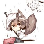 1girl ahoge animal_ears bangs barefoot blush brown_hair chibi eyebrows_visible_through_hair fox_ears fox_girl fox_tail hair_between_eyes holding long_sleeves looking_at_viewer looking_to_the_side multiple_views original parted_lips red_eyes shirt short_hair standing standing_on_one_leg tail white_shirt yuuji_(yukimimi)