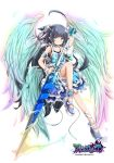 1girl ahoge akino_coto ankle_garter arm_garter asymmetrical_clothes black_hair blue_eyes frills full_body hair_ornament highres lance long_hair looking_at_viewer multicolored multicolored_wings official_art original pointy_ears polearm revision single_detached_sleeve solo transparent_background weapon wings
