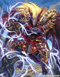 1boy armor bat_wings blonde_hair cardfight!!_vanguard company_name dragon dragon_tail electricity fangs horns japanese_armor japanese_clothes kazto_furuya long_hair male_focus official_art red_sclera shuriken sky stealth_dragon_mangy_shooter tail wings yellow_eyes