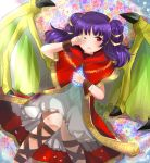 1girl cape dragon_girl dragon_wings fire_emblem fire_emblem:_seima_no_kouseki fire_emblem_heroes floral_background holding long_hair mamkute myrrh one_eye_closed open_mouth purple_hair red_eyes rojiura-cat rubbing_eyes sleepy solo stone twintails wings