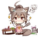 1girl animal_ears apron bangs barefoot blush breasts brown_hair censored chibi closed_mouth eyebrows_visible_through_hair fox_ears fox_girl fox_print fox_tail hair_between_eyes high_ponytail holding holding_knife kitchen_knife knife long_sleeves looking_at_viewer medium_breasts mosaic_censoring multiple_views original pink_apron pleated_skirt pocket ponytail pot print_apron red_eyes shirt short_hair skirt sparkle spatula standing table tail white_background white_shirt white_skirt yuuji_(yukimimi)