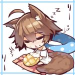 1girl :< animal_ears bangs bare_shoulders barefoot blush bread brown_hair chibi eyebrows_visible_through_hair food food_on_face fox_ears fox_girl fox_tail hair_between_eyes innertube long_sleeves melon_bread nose_blush off-shoulder_shirt original parted_lips shirt short_hair sitting sleeping sleeping_upright solo tail triangle_mouth white_shirt yuuji_(yukimimi) zzz