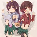 2girls back-to-back belly_peek black_legwear blush brown_hair burnt_clothes commentary_request cowboy_shot green_skirt hairband hood hoodie kantai_collection kisaragi_(kantai_collection) long_hair looking_at_viewer multiple_girls mutsuki_(kantai_collection) navel one_eye_closed ootori_(kyoya-ohtori) open_mouth pantyhose pleated_skirt purple_hair purple_sweater red_eyes ribbed_sweater skirt standing sweater thigh-highs torn_clothes torn_pantyhose turtleneck turtleneck_sweater violet_eyes zettai_ryouiki