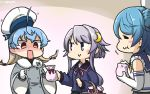 3girls =_= ahoge basket black_serafuku blonde_hair blue_hair blush closed_eyes coat commentary_request crescent crescent_hair_ornament dated eating elbow_gloves gloves gradient_hair hair_bun hair_ornament hamu_koutarou hat highres kantai_collection long_hair multicolored_hair multiple_girls purple_hair red_eyes sado_(kantai_collection) sailor_hat school_uniform serafuku short_hair short_hair_with_long_locks sleeves_rolled_up surprised upper_body urakaze_(kantai_collection) violet_eyes white_gloves white_hat yayoi_(kantai_collection)