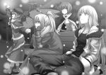 4girls bench bird_wings capelet casual coat contemporary fujiwara_no_mokou greyscale hands_in_pockets hat hijikawa_arashi kamishirasawa_keine long_hair mittens monochrome multiple_girls mystia_lorelei park_bench ponytail scarf short_hair sitting touhou wings wriggle_nightbug