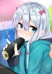 1girl blue_eyes bow censored eating ehoumaki eromanga_sensei food food_in_mouth green_jacket hair_bow highres izumi_sagiri jacket makizushi muoto pink_bow pixelated pointless_censoring silver_hair solo sushi upper_body