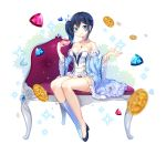 1girl absurdres bangs bare_shoulders black_footwear blue_dress blue_eyes blue_footwear blue_hair blurry blurry_foreground blush boots closed_mouth coin collarbone cup depth_of_field detached_sleeves dress eyebrows_visible_through_hair gem hair_between_eyes hair_ribbon highres holding holding_cup jewelry juliet_sleeves knee_boots long_hair long_sleeves moong_gya original pendant princess puffy_sleeves ribbon ruby_(stone) sapphire_(stone) shoes short_dress side_ponytail single_knee_boot single_shoe sitting smile solo sparkle strapless strapless_dress teacup white_ribbon wide_sleeves