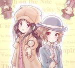2boys 2girls black_cape black_hair blue_suit bluez bowler_hat brown_eyes brown_hair cane cape chitanda_eru commentary_request cosplay cowboy_shot deerstalker detective fukube_satoshi green_eyes hat hyouka ibara_mayaka kimi_ni_matsuwaru_mystery long_hair looking_at_viewer monocle multiple_boys multiple_girls one_eye_closed oreki_houtarou purple_neckwear short_hair top_hat upside-down violet_eyes wall_of_text