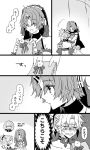 2girls :< blush braid choker closed_eyes comic crying detached_sleeves fate/apocrypha fate/grand_order fate_(series) frankenstein's_monster_(fate) glasses greyscale hair_ornament hair_scrunchie highres holding horn horns jekyll_and_hyde_(fate) kyouna looking_at_another monochrome mordred_(fate) mordred_(fate)_(all) multiple_girls open_mouth ponytail scrunchie short_hair sweat translation_request veil yuri