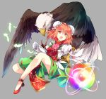 1girl bangs bird bun_cover commentary_request double_bun eagle eyebrows_visible_through_hair feathers flower full_body grey_background hair_between_eyes ibaraki_kasen kutsuki_kai leaf looking_at_viewer open_mouth orange_eyes orange_hair red_footwear shoes simple_background tabard touhou