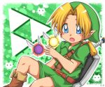 1boy blush_stickers deviantart endless-rainfall fairy green_background hat navi_(the_legend_of_zelda) shield solo sword the_legend_of_zelda the_legend_of_zelda:_majora's_mask the_legend_of_zelda:_ocarina_of_time young_link