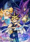 1girl bare_shoulders blonde_hair blue_eyes breasts cleavage commentary_request dark_magician dark_magician_girl detached_sleeves duel_monster hat kaze-hime long_hair multiple_boys smile yami_yuugi yu-gi-oh! yuu-gi-ou_duel_monsters