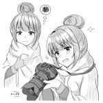 1girl 3: :d absurdres blush camera cellphone closed_mouth eyebrows_visible_through_hair greyscale hair_between_eyes hair_bun highres holding holding_camera holding_phone long_sleeves minakami_tansan monochrome multiple_views open_mouth phone shawl shima_rin smartphone smile sparkle squiggle sweatdrop thought_bubble translation_request white_background yurucamp