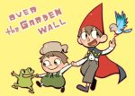 1girl 2boys :d animal beatrice_(over_the_garden_wall) bird black_eyes blush blush_stickers brothers cape copyright_name frog gregory_(over_the_garden_wall) haku_le happy hat long_sleeves looking_at_another multiple_boys open_mouth over_the_garden_wall overalls pants short_hair siblings simple_background smile teapot wirt_(over_the_garden_wall) yellow_background