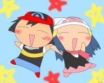 -_- 1boy 1girl :d adorable blue_background blush chibi closed_eyes deviantart endless-rainfall hikari_(pokemon) open_mouth pokemon satoshi_(pokemon) stars toriyama_akira_(style)