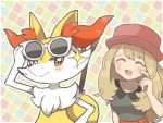 1girl :d ^_^ black_shirt blonde_hair blush braixen closed_eyes closed_mouth commentary_request eyebrows_visible_through_hair hand_up hat open_mouth pokemon red_eyes red_hat sasa_kichi serena_(pokemon) shirt short_sleeves smile solo sparkle sunglasses